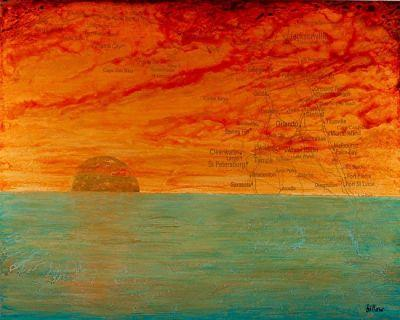 "Contemporary Map Art, Florida Map ""SUNRISE/SUNSET ON THE SUNSHINE STATE"" by Contemporary Artist Brian Billow"