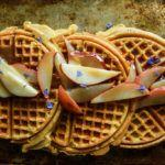 Pumpkin Waffles with Caramelized Pears- vegan and gluten free