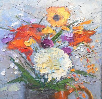 Floral Still Life Giclee Print, Palette Knife Painting