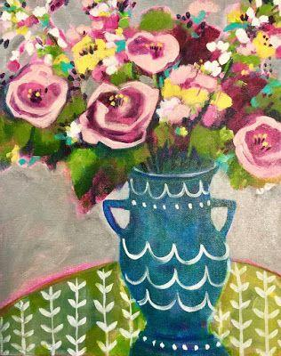 "Contemporary Abstract Still Life Flower Art Painting ""MORNING ROSES"" by Santa Fe Artist Annie O'Brien Gonzales"