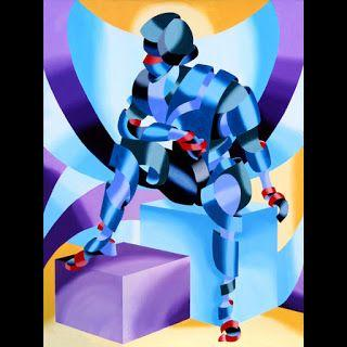 Mark Webster - Michael - Abstract Geometric Futurist Figurative Oil Painting