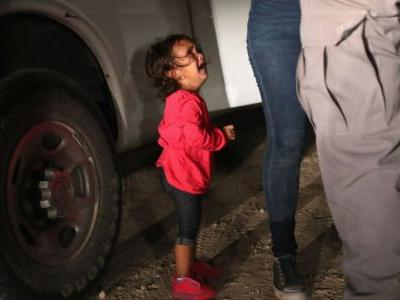 Audio from inside a border detention facility records young children wailing for their parents as an agent jokes 'We have an orchestra here'