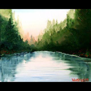 Mark Webster - Sunrise at the Mountain Lake Oil Painting