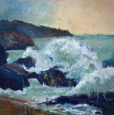 """Seascape Painting, Contemporary Seascape,Coastal Art, Beach Painting For Sale """"CHANGING CURRENTS"""" by Contemporary Artist Liz Thoresen"""