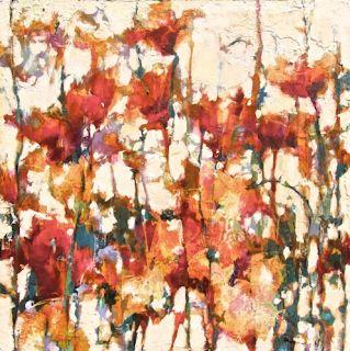 """Contemporary Botanical Floral Painting """"Garden Shimmer"""" by Intuitive Artist Joan Fullerton"""