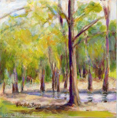 """Small Paintings, Colorful Contemporary Landscape Painting,Trees, Water Daily Painter, """"Place of Rest"""" by Passionate Purposeful Painter Holly Hunter Berry"""