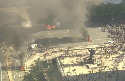 Police cars set ABLAZE near Philadelphia City Hall as protest erupts in violence and vandalism