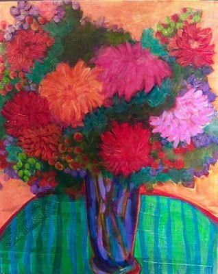 "Bold Colorful Expressionist Still Life Art Painting, Flowers, Floral Painting ""Happy Morning"" by Santa Fe Artist Annie O'Brien Gonzales"