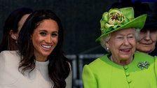Meghan, Duchess Of Sussex, Steps Out For Her First Solo Appearance With The Queen