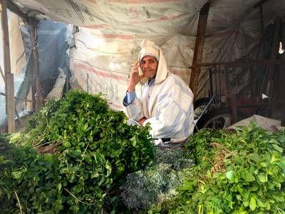 Photo: Man selling mint leaves in Morocco