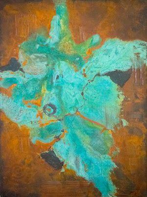 """Original Contemporary Abstract Painting '""""Eruption"""" by Contemporary Arizona Artist Pat Stacy"""