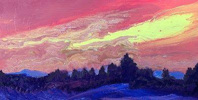 """Colorful Contemporary Landscape Painting, Abstract Landscape, Sunset, Pink Sky """"Gentle Goes The Day"""" by Colorado Artist Susan Fowler"""