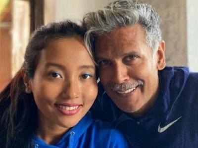 Ankita Konwar says running helps her deal with life's troubles. Milind Soman reacts