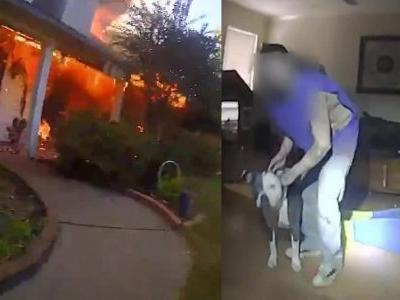 Body Cam Shows Police Officer Risk House Fire To Save A Family And Their Dog