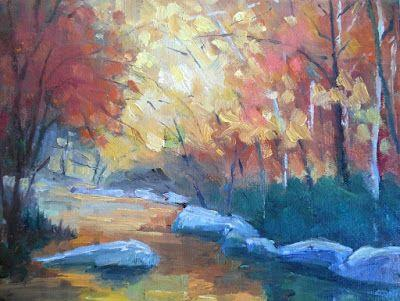 Mountain Stream Painting, Small Oil Painting, Daily Painting, 8x10x1.5