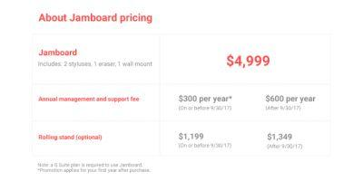 Google's Digital Whiteboard, 'Jamboard', Now On Sale for $4999
