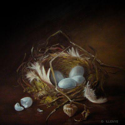 Robin's nest with feathers moss broken egg and cherry pod still life oil painting