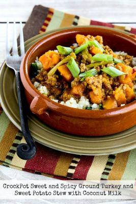 CrockPot Sweet and Spicy Ground Turkey and Sweet Potato Stew with Coconut Milk