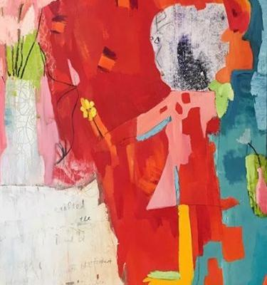 """Contemporary Art, Abstract,Expressionism, Studio 9 Fine Art """"Approaching the Altar of Joy"""" by International Abstract Artist Amanda Saint Claire"""