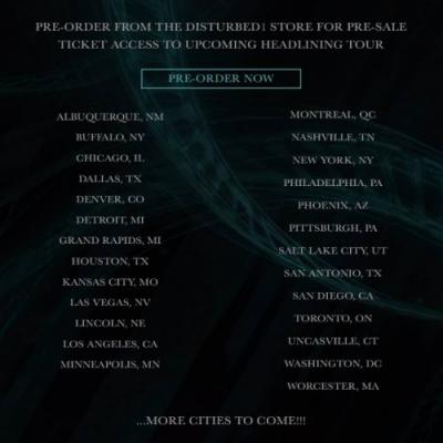 DISTURBED Announces Initial North American Cities For 2019 'Evolution' Tour