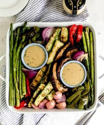 Grilled Vegetables with Honey Mustard Sauce