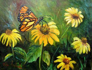 Butterfly and Coneflowers,oils,canvas,Barbara Haviland,Texas Contemporary Artist