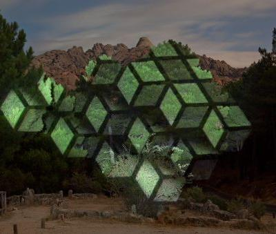Light Installations by Javier Riera Project Concentric Circles and Geometric Cubes onto Mountains and Trees