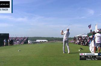 Check out Dustin Johnson's drive on 14 during the final round of the 118th U.S. Open