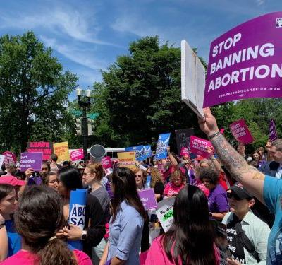 Hundreds of activists rally at Supreme Court in protest of extreme abortion bans