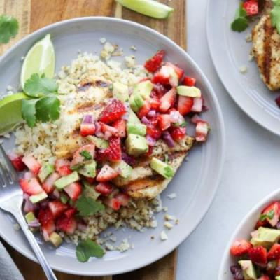 Grilled Halibut w/ Strawberry Guac