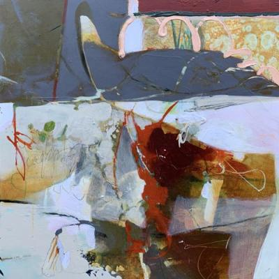 """Contemporary Abstract Botanical Painting, Expressionism """"GARDENING"""" by Intuitive Artist Joan Fullerton"""