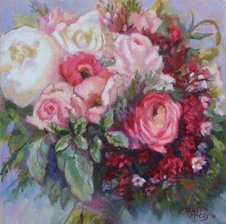 Bridal Bouquet Painting in Oil on canvas by Eileen McCoy
