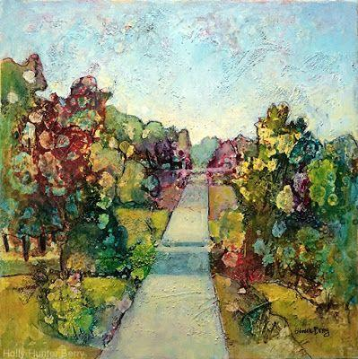 "Colorful Contemporary Landscape Painting, Trees, Pathway, Abstract Landscape, Tree, ""Open to Possibilities"" by Passionate Purposeful Painter Holly Hunter Berry"