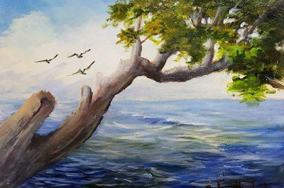 Tree over Water with Sea Gulls, Barbara Haviland canvas,oil painting