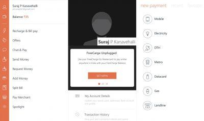 FreeCharge's Windows 10 app updated with support for broadband bills payment and more
