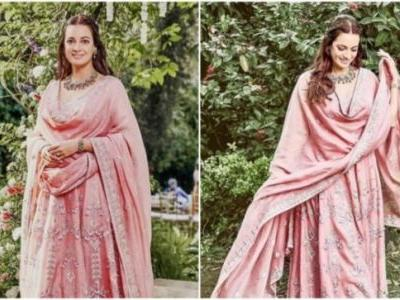 Dia Mirza in Rs 1.2 lakh pink anarkali set is elegance personified. See pics