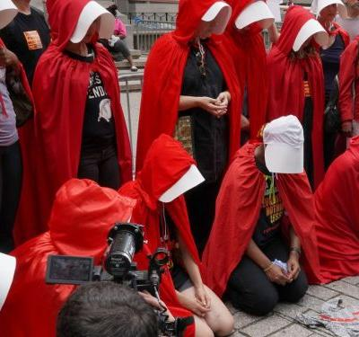 Handmaids Gather To Protest Mike Pence's New York City Visit