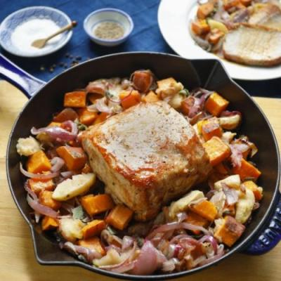 One Pan, Cider-Glazed Pork