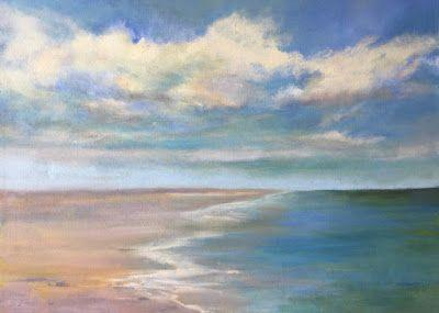 """Large Oil Seascape, """"Beach,"""" by Amy Whitehouse"""
