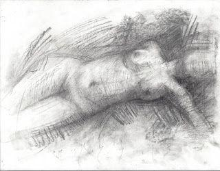 Expressive female nude charcoal drawing