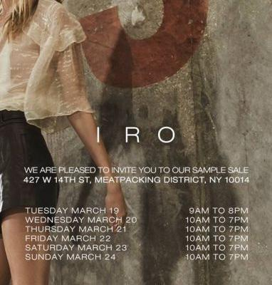 HIGHLY ANTICIPATED! FIRST EVER IRO SAMPLE SALE