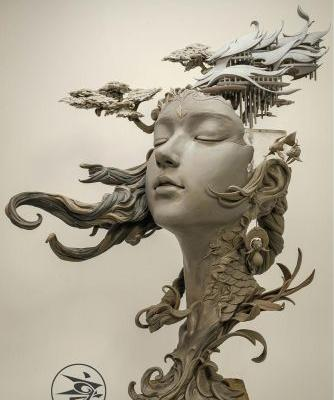 Dreamlike Landscapes Grow from Sculptural Portraits by Yuanxing Liang