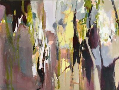 """Contemporary Abstract Landscape Painting """"UNPREDICTABLE FOREST"""" by Intuitive Artist Joan Fullerton"""
