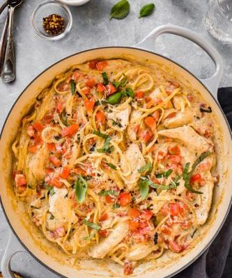 One Pot Chicken Margherita Pasta