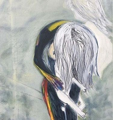 """Expressionist Female Figurative Painting, Adolescence Ascending Series, """" Madchen Mit Die Katze"""" by International Abstract Artist Amanda Saint Claire"""