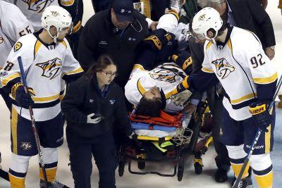 Predators rookie hospitalized after ugly crash into boards