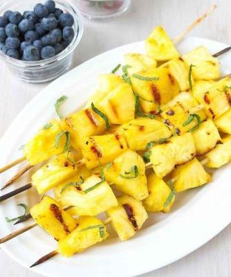Grilled Pineapple Kabobs with Honey & Lime