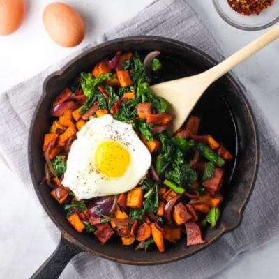 Kale, Bacon, & Sweet Potato Hash