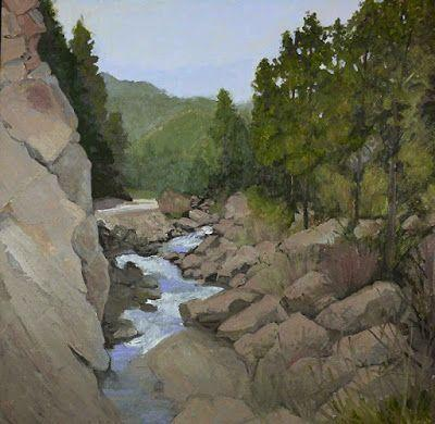 """Colorado Landscape Oil Painting, Rocky Mountains, Creek """"WATER BOULDERS AND PINES"""