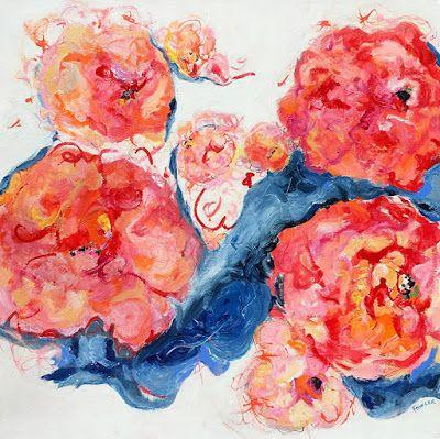 """Contemporary Floral Abstract Fine Art Painting, """"BROKEN TIME"""" by Contemporary Expressionist Pamela Fowler Lordi"""